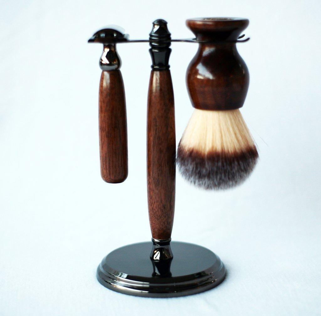 Walnut Shave Set in Gunmetal, safety razor, shave brush and matching brush and razor stand.