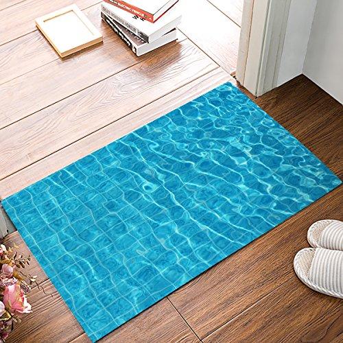 Family Decor Doormat for Entrance Way Indoor/Bathroom/Front Door Area Floor Mat Rugs Rubber Non Slip Absorb Kitchen Runner Carpet, Summer Blue Swimming Pool Water, ()