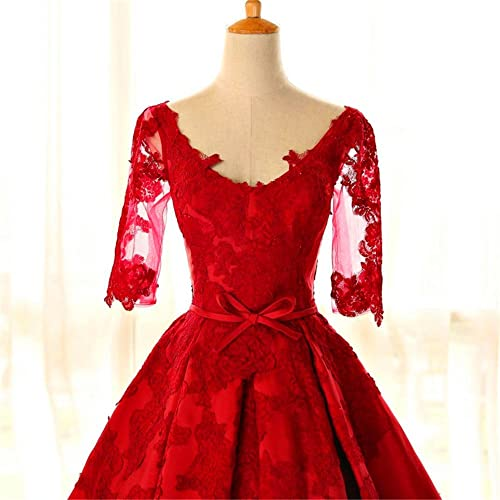 Amazon.com: Fuffy Ball Gown red Quinceanera Dresses Long v-neck lace up Vestidos De 15 Anos lace Prom Dress For Girls 2018: Handmade