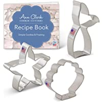 Ann Clark Cookie Cutters Mermaid Cookie Cutter Set with Recipe Book - 3 Piece - Mermaid Tail, Starfish, Seashell - USA Made Steel