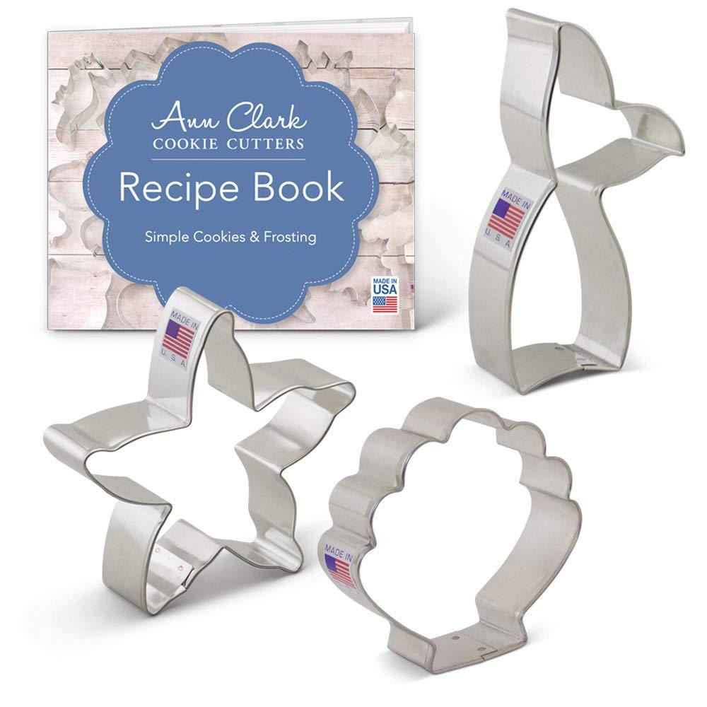 Mermaid Cookie Cutter Set with Recipe Book - 3 Piece - Mermaid Tail, Starfish, Seashell - Ann Clark - USA Made Steel Ann Clark Cookie Cutters A6-188