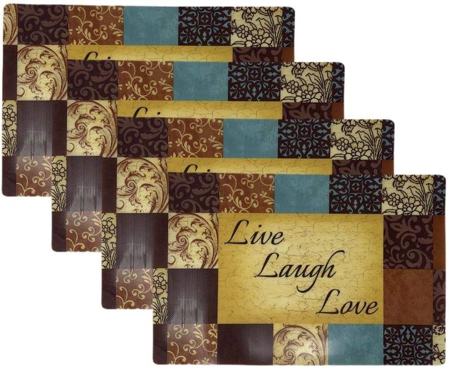 Live Laugh Love Plastic Placemat Set of 4 Muticolored