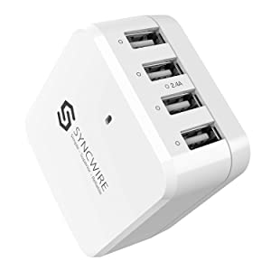 Syncwire USB Charger 38W 4Port - Multiple USB Wall Charger with Foldable Plug Travel Adapter for iPhone 11 XS Max X XR 8 7 6s 6 Plus SE 5 5s 5c, iPad, iPod Samsung, LG, Nexus, HTC, Tablet and More