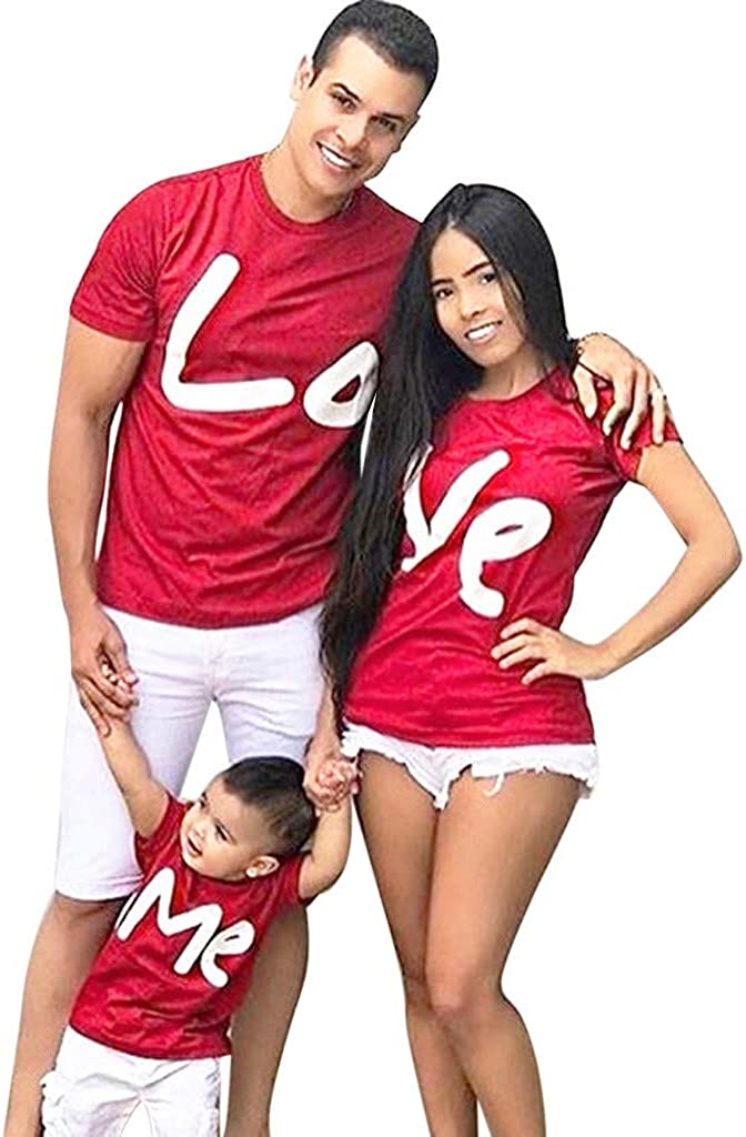 aihihe Valentine's Day Shirts for Couples Family Matching Clothes Parent Child Short Sleeve Letter Print T-Shirt Tops Red