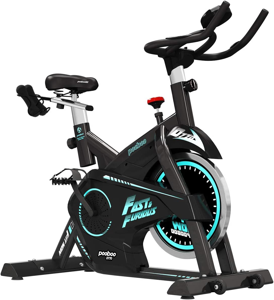 pooboo Pro Indoor Cycling Bike, Belt Drive Exercise Bike,Stationary Exercise Bicycle LED Display Heart Pulse Trainer Bike Flywheel Smooth Quiet