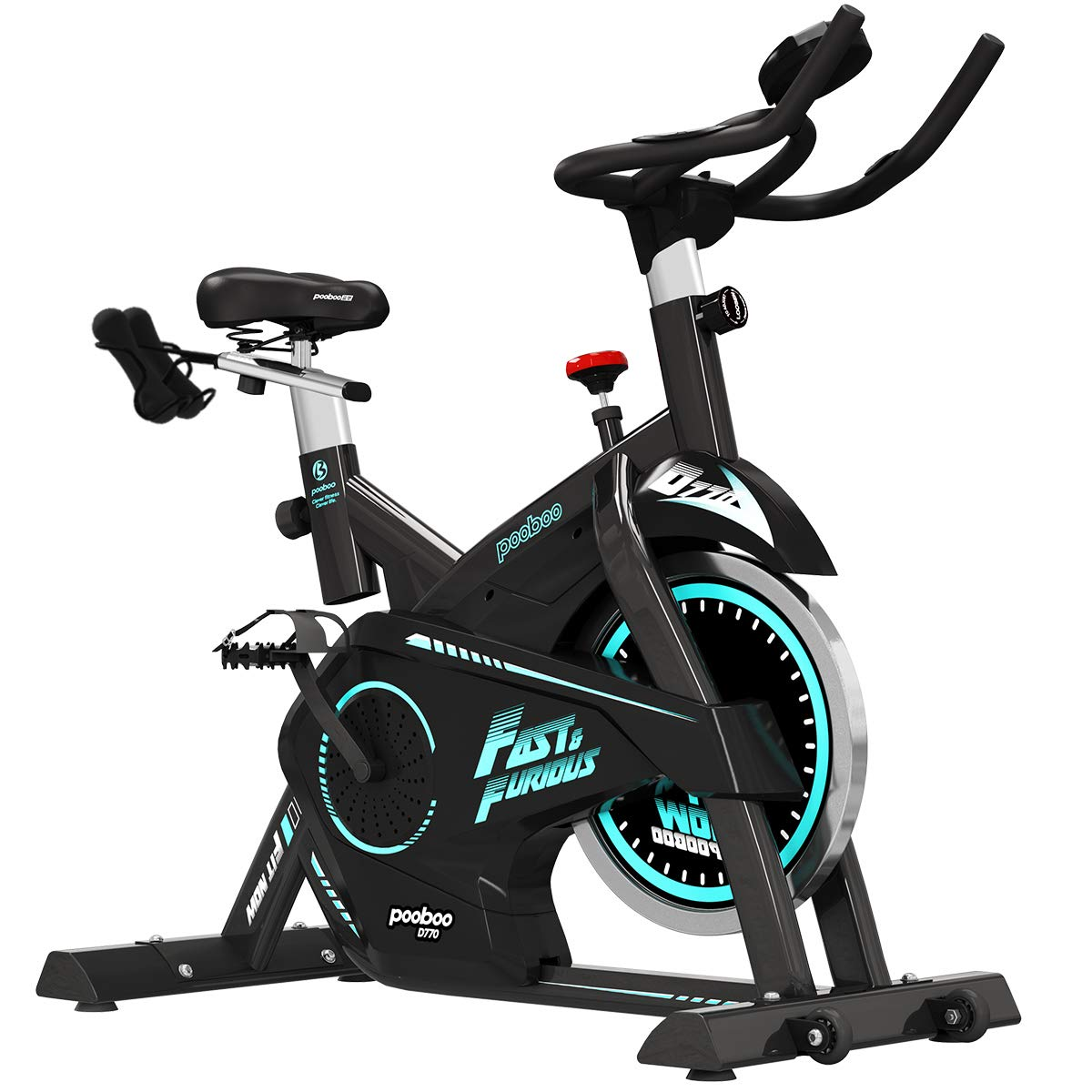 pooboo Pro Indoor Cycling Bike, Belt Drive Exercise Bikes,Stationary Exercise Bicycle LCD Display Heart Pulse Trainer Bike with Dumbbells Flywheel Smooth Quiet