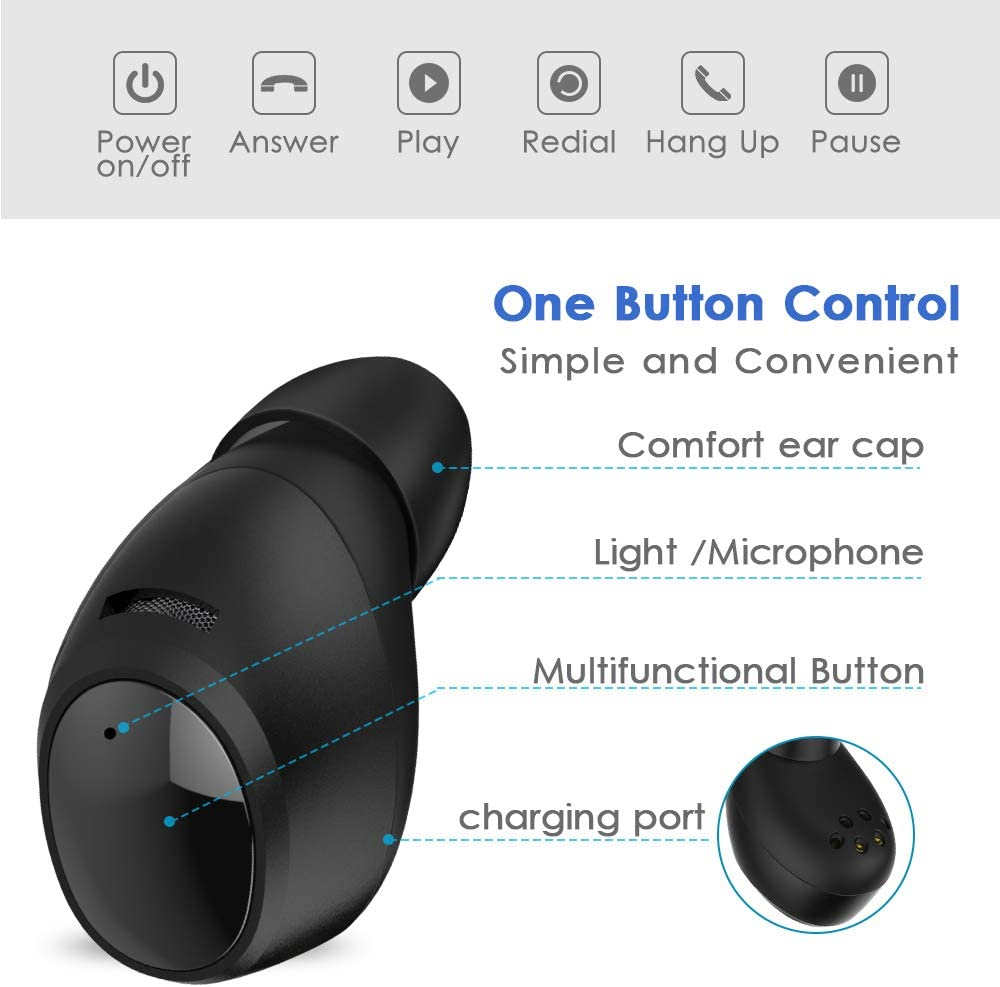 True Wireless Earbuds, AUGYMER Bluetooth Headphones TWS Bluetooth 5.0 Wireless Earbuds for Sports Running with Earphones Charging Case in-Ear Bluetooth Wireless Headphones with 3D Stereo Sound Deep