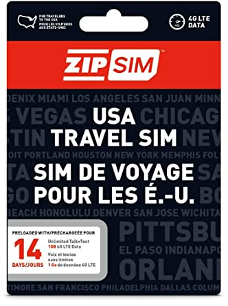 Amazon.com: ZIP SIM prepagada USA SIM para viajeros TALK + ...