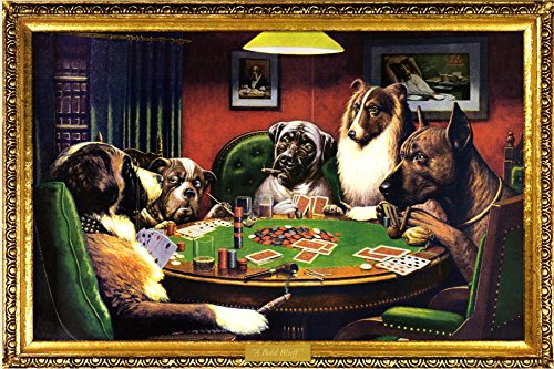 (24x36) C.M. Coolidge (Bold Bluff, Dogs Playing Poker) Art Poster Print Dogs Playing Cards Picture