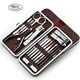 Nail Clipper Travel Set,18 in 1 Stainless Steel Manicure Pedicure Set Nail Cutter Scissors Care Set Tweezers Knife Ear Pick Eyebrow Scissors Utility Tools Grooming Kits with Leather Case (Brown)