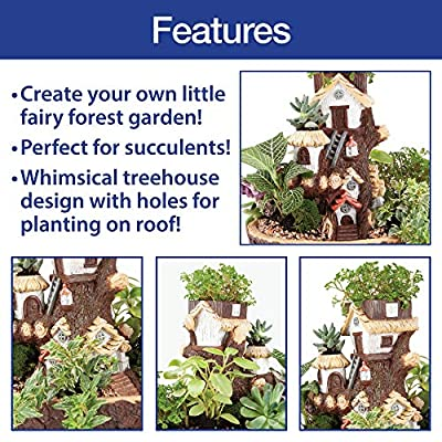 The Paragon Fairy Garden Planter House, Resin Fairy Forest Mulit Layer Decroative Flower Pot for Succulents, Cactus or Small Flower : Garden & Outdoor