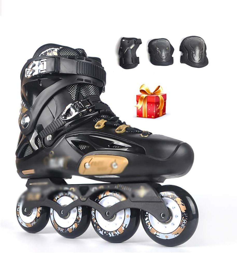10代のスポーツレジャーインラインスケート照明女性ローラーブレードジュニア大人安全で丈夫なインラインスケート +防護服 (Color : 黒, Size : EU 41/US/8/UK 7/JP 25.5cm) 黒 EU 41/US/8/UK 7/JP 25.5cm