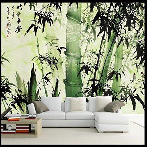 Lwcx Large 3D Wallpaper For Walls Mural 3D Ink Bamboo Reported Safety Sofa Bedroom Wallpaper Backdrop Papel De Parede Green 350X245CM