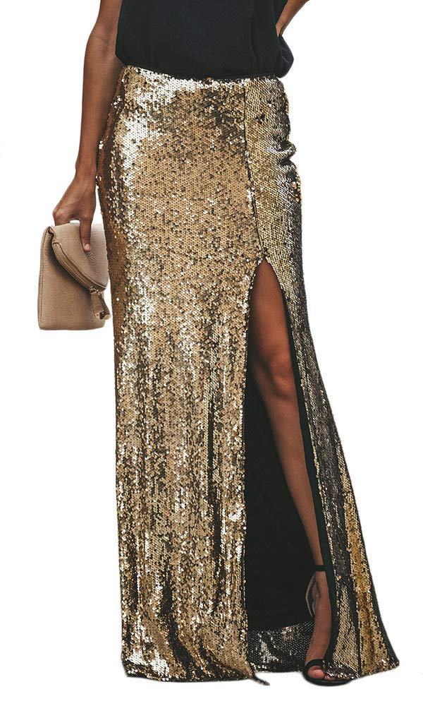 Cosygal Women's Shimmer Shine Gold Sequins Side Slit Maxi Long Skirt