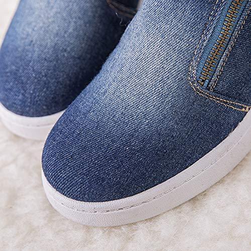 Para Nieve Zapatos Gran Invierno Botas Occidental Coreano De Algodón Estudiantes Vaquero Oscuro Azul Liangxie Pisos Mujer Planos Tamaño w4EqAIwx