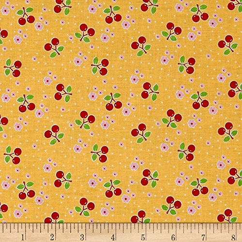 Riley Blake Bake Sale 2 Cherry Yellow Fabric By The Yard - Cherry Cotton Fabric
