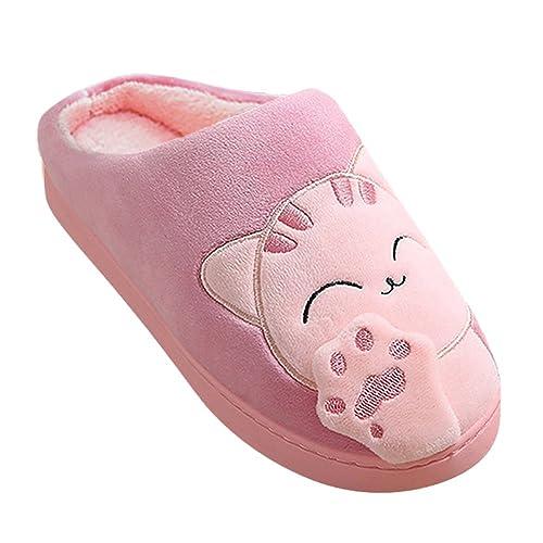 Adulto Unisex Zapatillas Suave Peluche Shoes Cartoon Gato Zapatos Pareja Slippers: Amazon.es: Zapatos y complementos