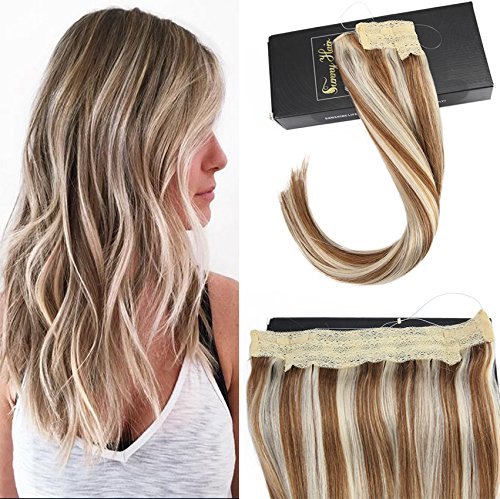 Sunny 14inch Piano Color Medium Brown with Blonde Hair Halo Extensions Real Hair 80g No Clip No Glue One Piece Flip on Human Hair Extensions