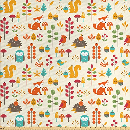 Ambesonne Children Fabric by The Yard, Cute Kids Autumn Pattern with Owl Fox Squirrel Birds Animal Leaves Artsy Print, Decorative Fabric for Upholstery and Home Accents, 1 Yard, Multicolor