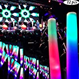 Adorox 12Pcs.16 inch Multi-color LED Changing Baton 3 Modes Flashing Light up Stick