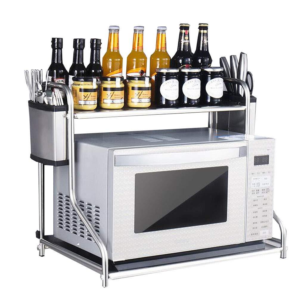 キッチン用棚電子レンジラックオーブン棚スパイススタンドステンレススチール2層マルチファンクション 香味料入れ B07S4GZB7P  53*37*48cm