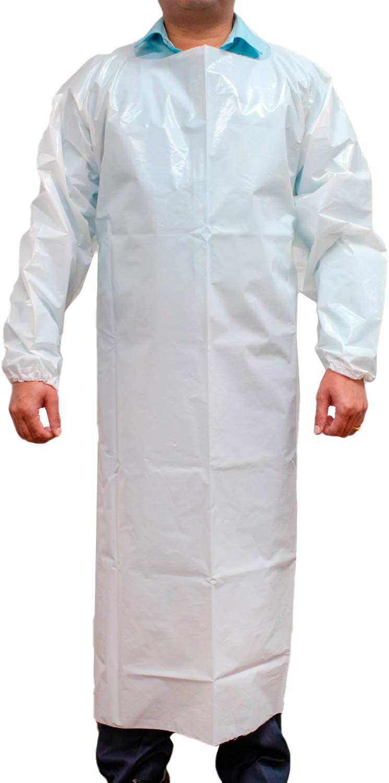 SAFE HANDLER PEVA Apron, Polyethylene Vinyl Acetate | Open Back for Easy Removal, Waterproof and Disposable, WHITE