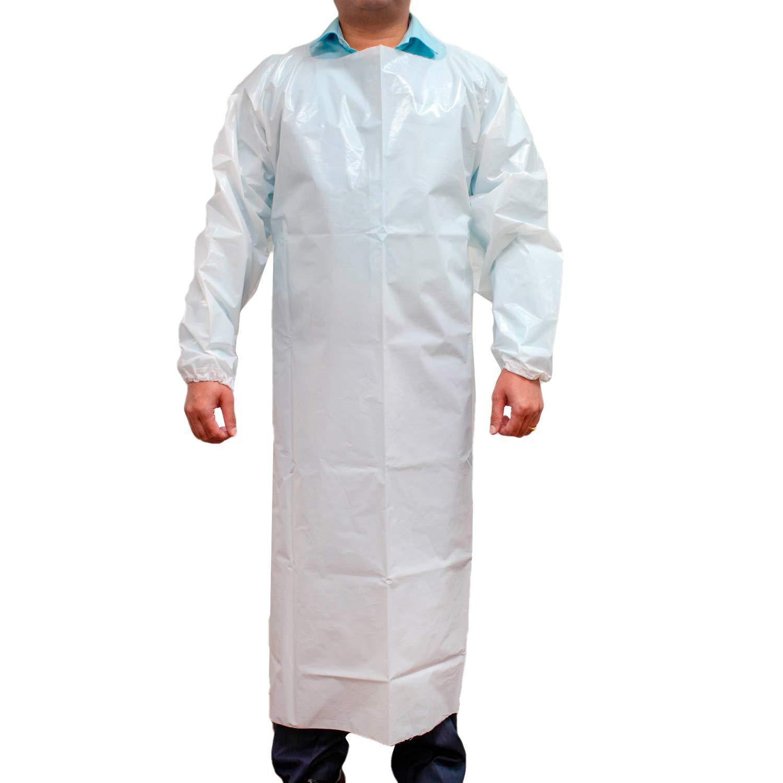 - - - SAFE HANDLER PEVA Apron, Polyethylene Vinyl Acetate   Open Back for Easy Removal, Waterproof and Disposable, White 8678fa