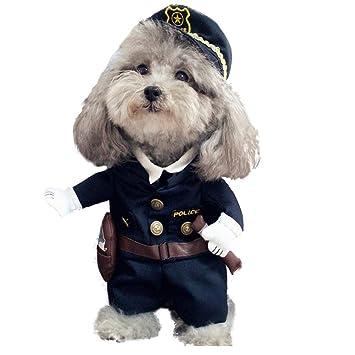 V.JUST Mascotas Disfraces de policía Ropa para Perros y Gatos Vestido de Fiesta de Halloween Traje Ropa de algodón,S: Amazon.es: Hogar