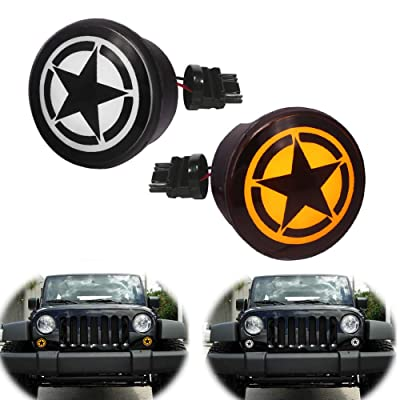 GTINTHEBOX LED Front Turn Signal Light Smoked Lens Amber/White Flasher for 2007-2020 Jeep Wrangler JK Unlimited - Star Logo: Automotive