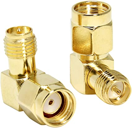 RP-SMA Male to RP-SMA Female Adapter Connector 90 Degree Elbow 2-Pack RFAdapter for FPV Antenna RP-SMA Right Angle Quadcopter Routers Race Quad