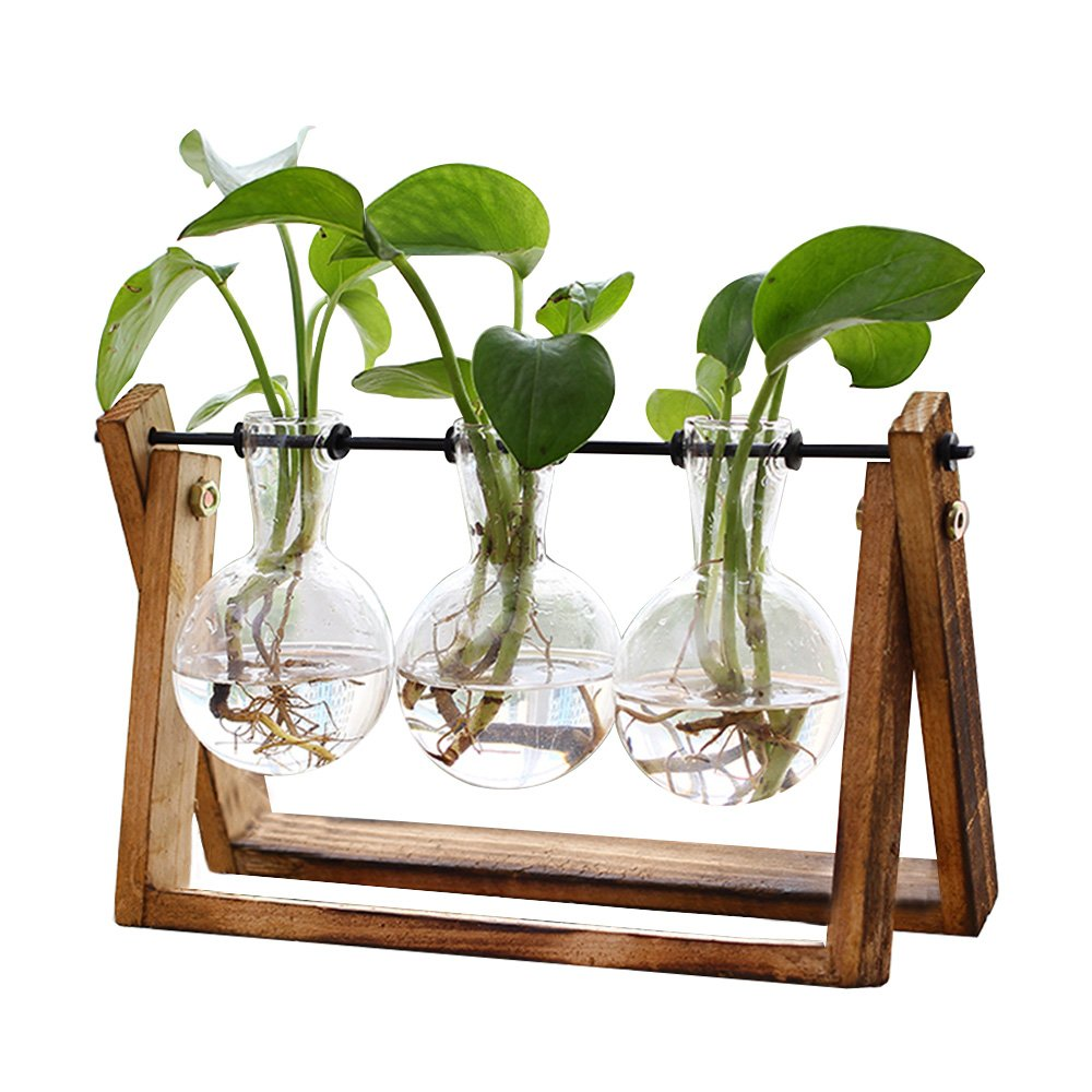 Plant Terrarium with Wooden Stand, Air Planter Bulb Glass Vase Metal Swivel Holder Retro Tabletop for Hydroponics Home Garden Office Decoration - 3 Bulb Vase by HUABEI