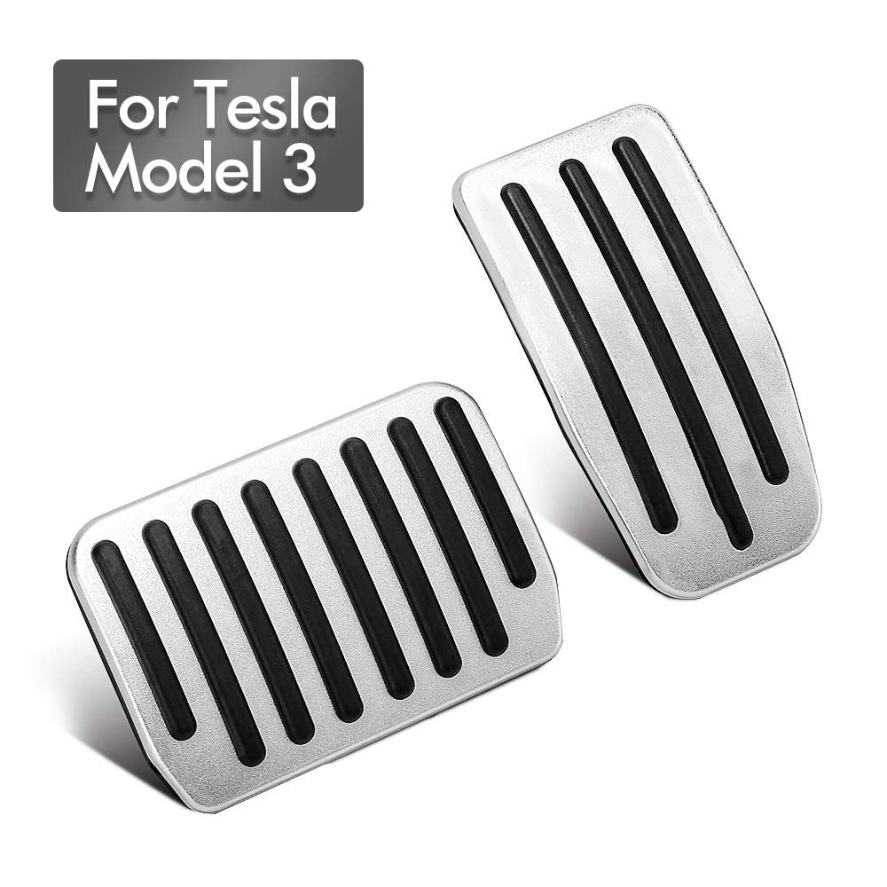 Pedal Covers for Tesla Model 3 Auto Accelerator Pedals Brake Foot Pedal Pads Aluminum Anti-Slip with Rubber Pull Tabs for Easy Installation(A Set of 2)