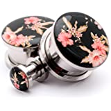 Screw on Plugs - Vintage Floral Style 5 Picture Plugs - Sold As a Pair