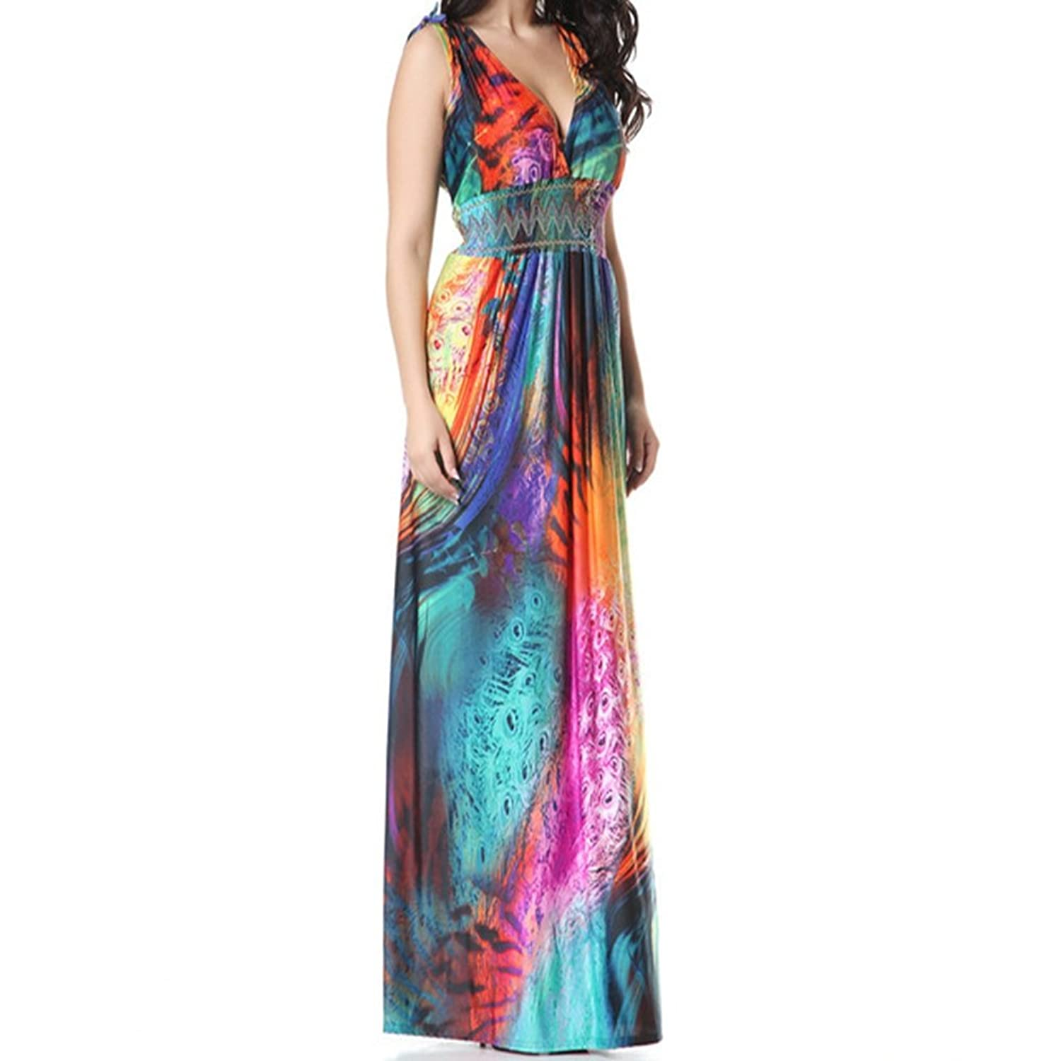 HUIJSNQ 2017 Women Summer Holiday Beach Dress Plus Size 7XL Printed Long Maxi Dress Robe at Amazon Womens Clothing store: