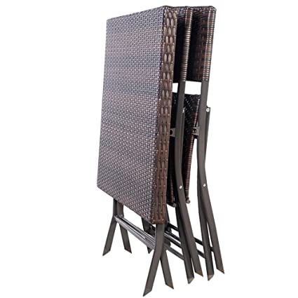 3 PC Outdoor Folding Table Chair Furniture Set Rattan Wicker Bistro Patio Brown TKT-11