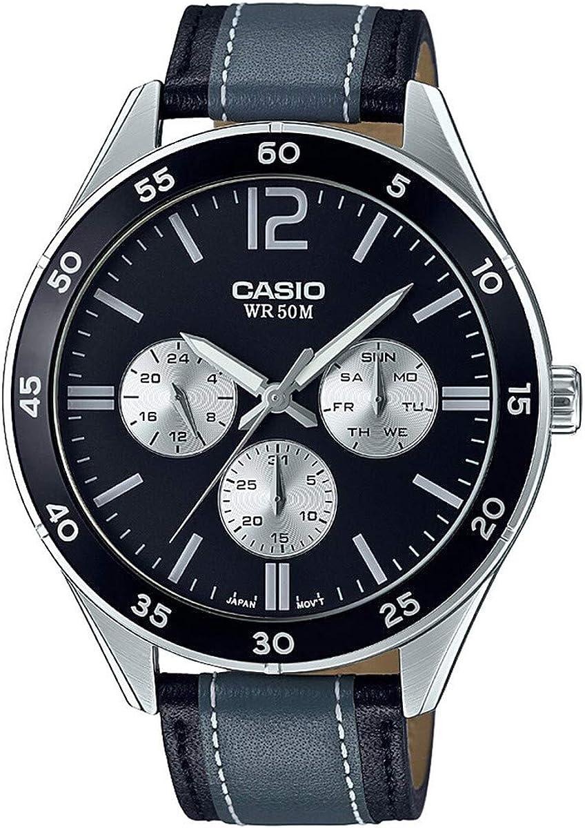 Casio mtp-e310l-1a1V Hombres de carreras para negro y gris correa de cuero multifunción reloj