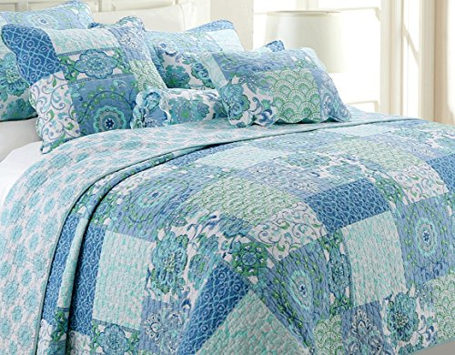 Cozy Line Home Fashions Peace Love Bedding Quilt Set, Turquoise Blue Aqua Green Flower Pattern Patchwork 100% Cotton Reversible Bedspread, Coverlet Gift for Women (Peace Love, Queen - 3 Piece)