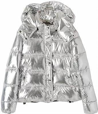 14423d31a97 ouxiuli Women's Thicken Warm Metallic Hooded Button Parka Jackets Outwear  Silvery XS