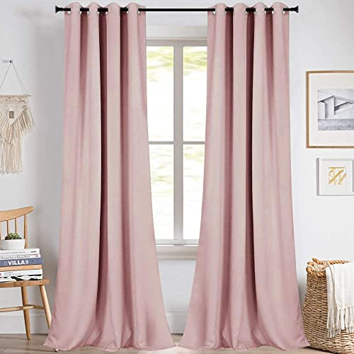 KEQIAOSUOCAI Baby Pink Girls Room Blackout Curtains 2 Panels 108 Inch - a good cheap window curtain panel