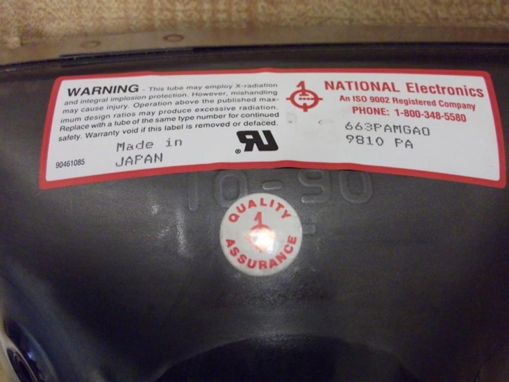 National Electronics 663PAMGAO Cathode Ray Tube CRT Ite 663PAMGA0