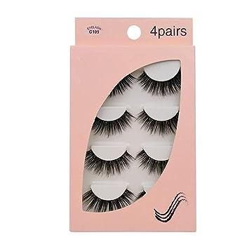 86858edb801 Amazon.com : Natural 3D Mink False Eyelashes 4 Pairs Make up Full Strip  Lashes 3D Mink Lashes Fluffy faux cils Soft Maquiagem, G109 : Beauty