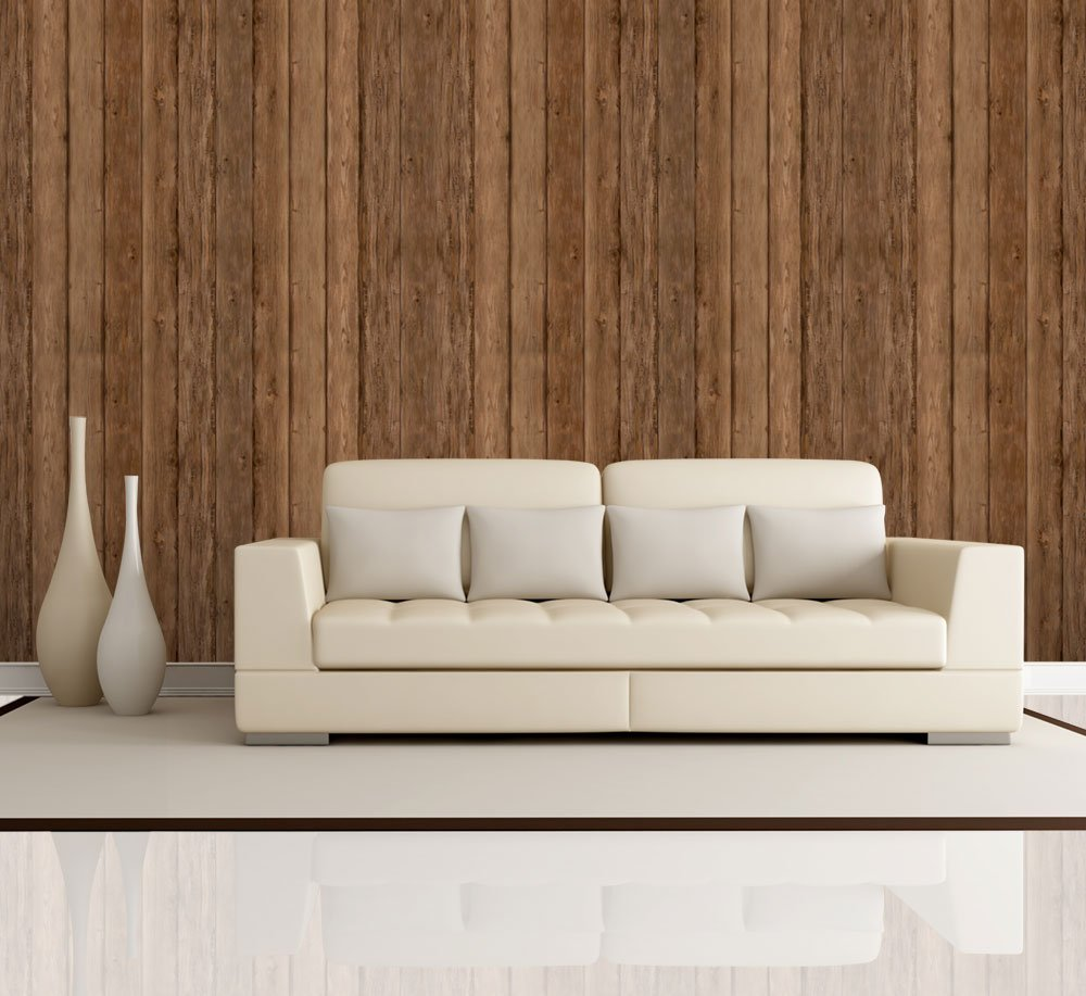 Vertical brown retro wood textured paneling wall mural for Removable wallpaper wood paneling