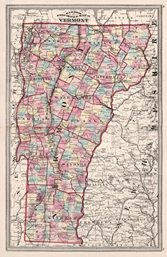 Rare Railroad Map Atlas - Historic Map | 1874 World Atlas | Railroad and Post Office map of Vermont | Historical Antique Vintage Decor Poster Wall Art | 24in x 36in