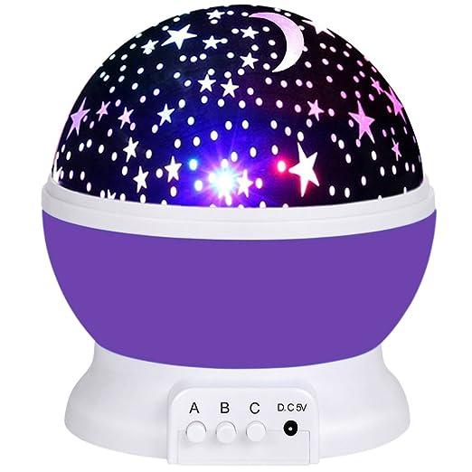 eyqm Star proyector, 4 LED cielo luz nocturna para niños, rotación ...