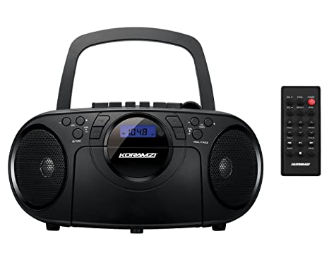 Koramzi Portable CD Boombox Full Range Stereo Sound System w/Top-Loading MP3 CD Player, Cassette Player, Recorder, AM/FM Radio, USB Input, Headphone, AUX Jack w/Remote Control (Black) Portable Media P at amazon