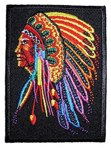 Leather Supreme Native American Indian Chief Head Embroidered Biker Patch-Red-Small