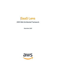 SaaS Lens: AWS Well-Architected Framework