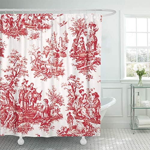 Semtomn Shower Curtain Toile Red French Country Vintage Custom Trending 66