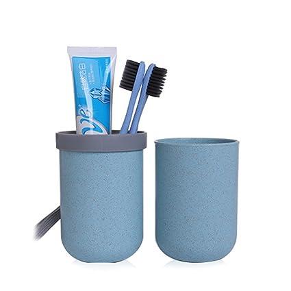 Juego de tazas de viaje para cepillos de dientes, caja para guardar pasta de dientes