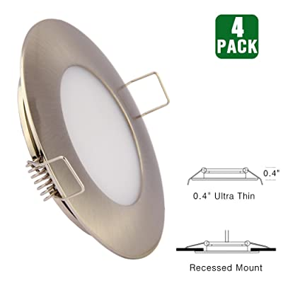 12V LED RV Boat Ceiling Lights Recessed Interior Dome Light Cabinet Roof Cabin Overhead Downlight 3.5W 3inches Brushed Nickel, 4 Pack (Warm White): Automotive